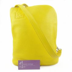 Escada Leather Tote Yellow Color Leather Condition Fair