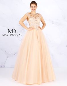 Pastel multi colored bias cut ball gown. Heavily encrusted rhinestone cut out collar with intricate beading pattern and cap sleeves. Colors: Peach or Powder Blue.