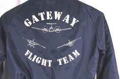 "VTG Gateway Flight Team Jacket ""DI"" Airplane Pilot Flying Nylon Lined Size M #Hilton #FlightBomber"