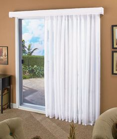 """Update any room's patio door or large window with the soft look of the 140"""" Lose the Louvers Curtain. The sheer voile curtain features a permanent crinkle texture that shimmers in sunlight. The curtain and valance replace one standard 78"""" vertical blind."""