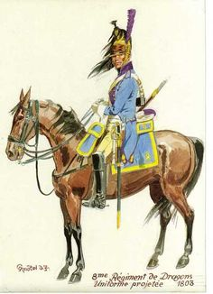 8th Dragoons trialing an experimental new uniform in 1803. In an attempt to save both production time and cost attempts were made to replace the green uniforms of the dragoons. The green at that time had to be dyed twice first with a blue dye then a second time with a yellow dye. Plate by Knotel
