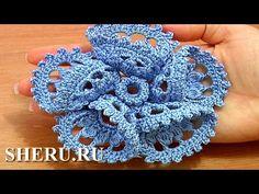 3D Flower Crochet  With Folded Petal Урок 63 часть 1 из 2 Как вязать цветок