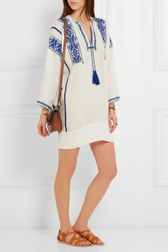 Étoile by Isabel Marant. White and blue cotton-gauze Slips on 100% cotton Hand wash Imported