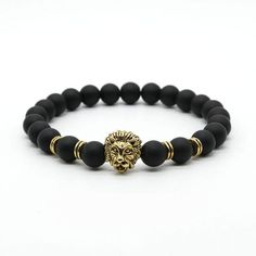 Black Bead & Lion Bracelet (Gold/Silver Plated) - Basile Ave