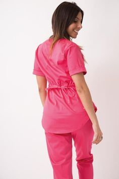 Gina Spandex Fucsia Scrubs Outfit, Medical Scrubs, Spandex, Rompers, Denim, Sewing, Battle, Bb, How To Wear