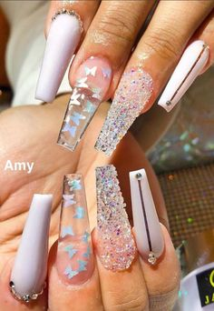 45 Impressive White Nail Designs You'll Flip for in 2020 Lily Fashion Style - Nageldesign Summer Acrylic Nails, Best Acrylic Nails, White Nail Designs, Acrylic Nail Designs, Nail Swag, Nagel Bling, Fire Nails, Dream Nails, Birthday Nails