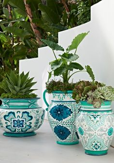 Inspired by the shades of the sea, our exquisitely detailed Serino Painted Planter with Handles brings a burst of cool color to your sunroom, patio or garden. | Frontgate: Live Beautifully Outdoors