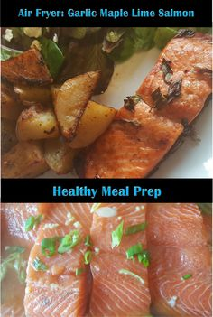 Perfect salmon in the air fryer! Hint of garlic, slight sweetness from the maple syrup and tang from the lime complement but don't over-power the natural sal. Healthy Meal Prep, Healthy Fats, Healthy Recipes, Lime Salmon Recipes, Salmon Dinner, Cooking Salmon, Side Salad, Air Fryer Recipes, Health And Nutrition