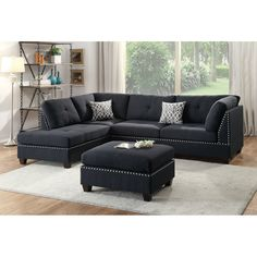 Bold and beautiful describe this sectional that features plush and spacious seating. It also features accent trim in silver studs on both the sectional and matching cocktail ottoman. Make a statement in your home living space. Chaise is reversible to flexibility. Upholstered by smooth linen-like fabric in black color.