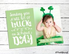St Patricks Day Photo Card / Personalized Printable St