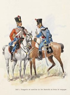 1807 - Trumpeter & cavalry of 1st Hussars in campaign dress