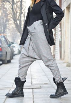 Loose Casual Drop Crotch High Waist Pants, Harem Sexy Pants, Extravagant Maxi High Waist Trousers by SSDfashion Sarouel Pants, Harem Pants Men, Trousers, Jogger Outfit, Iranian Women Fashion, Outdoor Wear, Kinds Of Clothes, Comfortable Outfits, Daily Fashion