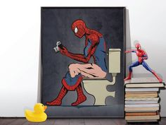 Spiderman Comic book Superhero on the Toilet Humour Poster Wall Art Hanging Print Home Décor Aquaman, Spiderman Comic Books, Thor, Deadpool, Superhero Bathroom, Marvel Paintings, Batman, Hanging Wall Art, A Comics