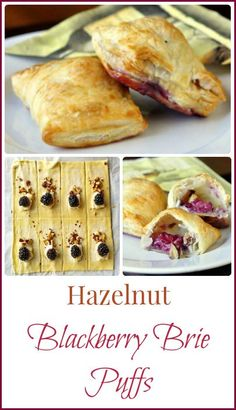 Brie Hazelnut and Blackberry Puffs - perfect party nibbles for New Years Eve. Frozen puff pastry makes these super easy to put together in a flash.