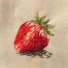 Strawberry all done. See whole process in my story _ _ _ #stitches #threadpainting #strawberry # #strawberryart #embroidery…