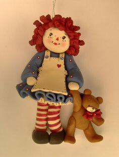Raggedy Ann Polymer Clay Ornament via Etsy Polymer Clay Ornaments, Polymer Clay Christmas, Clay Projects, Clay Crafts, Paper Dolls, Art Dolls, Raggedy Ann And Andy, Clay Figurine, Polymer Clay Creations