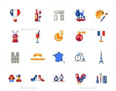 France Travel Icons And Elements by decorwm Set of vector flat design France travel icons and infographics elements with landmarks and famous French symbols