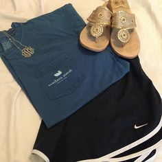 Southern Marsh Long Sleeve Tee - Monogrammed Necklace - Nike Shorts - Jack Rodgers Sandals