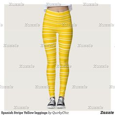 Spanish Stripe Yellow leggings : Beautiful #Yoga Pants - #Exercise Leggings and #Running Tights - Health and Training Inspiration - Clothing for #Fitspiration and #Fitspo - #Fitness and #Gym #Inspo - #Motivational #Workout Clothes - Style AND comfort can both be achieved in one perfect pair of unique and creative yoga leggings - workout and exercise pants - and running tights - Each pair of leggings is printed before being sewn allowing for fun designs on every square inch - Medium weight…