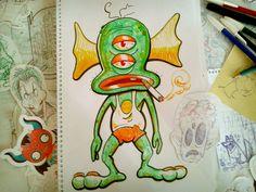 Abril: Del cuaderno a la calle Día 4 Diego Barrionuevo  Cuadernos, recortes, hojas sueltas, garabatos en birome... mi etapa de boceto es totalmente suelta y caótica.