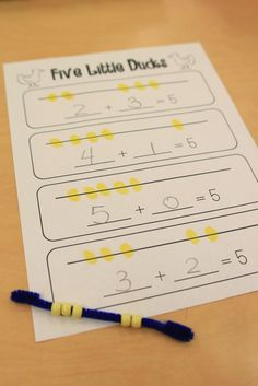 Ricca's Kindergarten: Fun with Addition! {Freebies}We sang Five Little Ducks and used fuzzy sticks and beads to decompose the number This idea was inspired by Deeanna at Golden Gang Kindergarten! Kindergarten Math Activities, Preschool Math, Math Classroom, Fun Math, Math Resources, Teaching Math, Maths, Easy Math, Simple Math