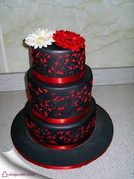 Black with Red Wedding Cake - Welcome to Cindy's Cake Art Types Of Wedding Cakes, Wedding Cake Images, Black Wedding Cakes, Black Wedding Invitations, Wedding Cakes With Cupcakes, Elegant Wedding Cakes, Elegant Cakes, Beautiful Wedding Cakes, Red Wedding