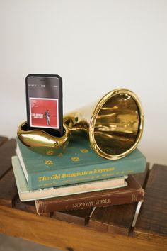 gold ceramic smart phone speaker