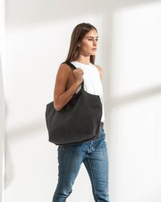 Dark Grey Soft Leather Tote Bag - Gray Purse - Women Bag - Shoulder Bag - Handbag - Office Bag - Unlined Bag - Big Bag - Nina bag