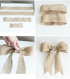 DIY burlap bow tutorial for beginners! Concise, step-by-step directions with pictures. This bow is PERFECT and can be used in a variety of ways. Diy Bow, Diy Ribbon, Ribbon Bows, Ribbons, Burlap Crafts, Burlap Bows, Diy And Crafts, Christmas Bows, Christmas Crafts
