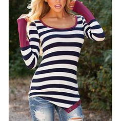 Stylish Scoop Collar Long Sleeve Striped Asymmetrical Women's T-Shirt