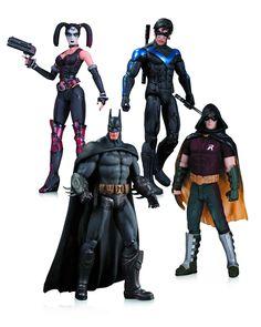 DC Comics Arkham City Harley Quinn, Batman, Nightwing, and Robin 4 Pack