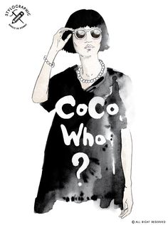 Illustration made by Danilo De Donno ( STYLOGRAPHIC) © ALL RIGHT RESERVED visit my personal website: www.danilodedonno.com   #fashionillustration #modern #girl #glamour #style #digitaldownload #wallart #illustration #poster #walldecor #printdecor #watercolor #brush #blackwhite #womenswear #fashion #coco #chanel