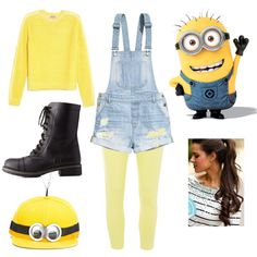 Homemade Minion costume by laurenbug01 on Polyvore featuring N°21, H&M…
