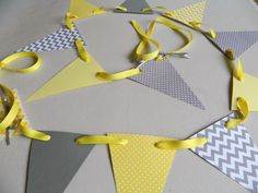 Paper Garland/ Yellow and Gray Chevron by anyoccasionbanners
