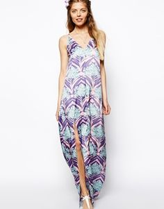 Enlarge ASOS Strappy Tropical Palm Print  Maxi Dress