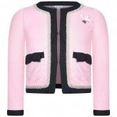 Le Chic Girls Pink Jacket With Pearl Trim
