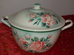 VINTAGE French collector Enamelware TUREEN / Pink roses and eyelets - c.1890