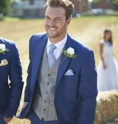 Our grey and royal blue tweed waistcoat.