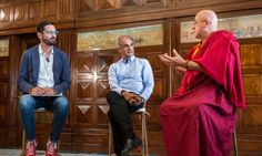 Guy Raz (left), Pico Iyer (center), and Matthieu Ricard (right) discuss mindfulness and the importance of being still at TED Global 2014.