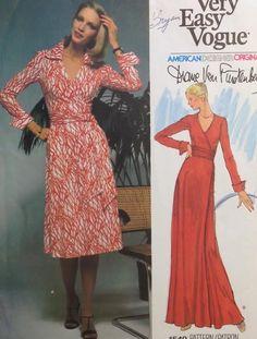"""UC Vtg Easy Vogue 1549 Diane Von Furstenberg Wrap Dress American Designer 36"""""""
