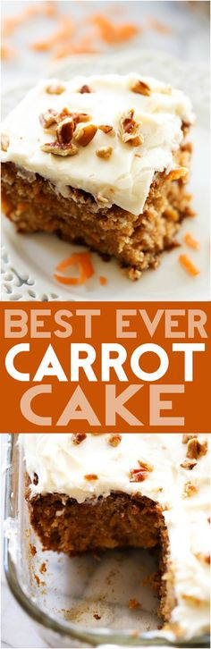Best Ever Carrot Cake... This Carrot Cake is absolutely DELICIOUS! It has a secret ingredient that helps to enhance its flavor and make it exceptionally moist! This will quickly become a new favorite and will be your go-to carrot cake recipe!