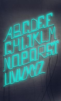 Marquee lamps: Discover these amazing & modern neon letter inspirations for your interior design ideas and projects! Typography Served, Typography Alphabet, Typography Poster, Neon Design, Graphic Design, Type Design, Futuristic Fonts, Neon Words, 3d Type