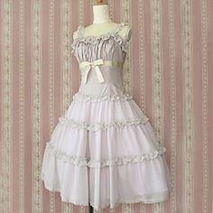 Elegant Sleeveless Knee-length Light Purple Cotton Princess Lolita Dress – USD $ 109.99