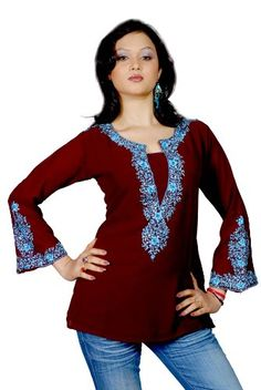 Indian Selections - Dark brown long sleeves Kurti/Tunic with heavy embroidery - Medium Indian Selections http://www.amazon.com/dp/B001MSJETC/ref=cm_sw_r_pi_dp_lLpMtb0JZ6FPYYKJ