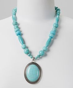 Take a look at this Turquoise Beaded Oval Pendant Necklace by Fantasy World Jewelry on #zulily today!