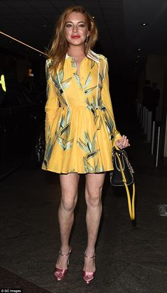Not so mellow yellow: Lindsay Lohan put her slender legs on display in a bright patterned dress as she joined London Fashion Week's biggest stars at Wonderland Magazine's anniversary party in the capital on Tuesday evening Lindsay Lohan Style, Star Fashion, Girl Fashion, Cute Yellow Dresses, Prettiest Actresses, Gorgeous Redhead, Beautiful, Girl Celebrities, Celebs