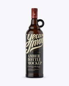 Amber Glass Bottle With Handle Mockup (Preview)