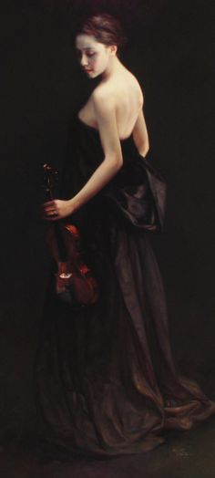 The Violinist/Ode to John Singer Sargent. Zhao Kailin. Kailin became enamoured of the elegantly voluptuous society portraiture of American painter John Singer Sargent (1856-1925). Sargent's Madame X (1884), a full-figure portrait of a mysterious porcelain-skinned woman dressed in a long black dress that scandalized Paris's Salon of 1884, most certainly has left its silky mark on many of Kailin's portrait paintings.