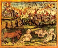 medieval pics and paintings | medieval painting dated 1456 AD, depicting a pass of Halley's Comet.
