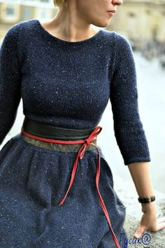 Ravelry: Blue Expanses -free pattern by Elena Borisenkova. I live this style, this is my favourite outfit look and silhouette. Look Fashion, Winter Fashion, Womens Fashion, Knit Fashion, Latest Fashion, Fashion Trends, Knit Dress, Dress Up, Flare Dress